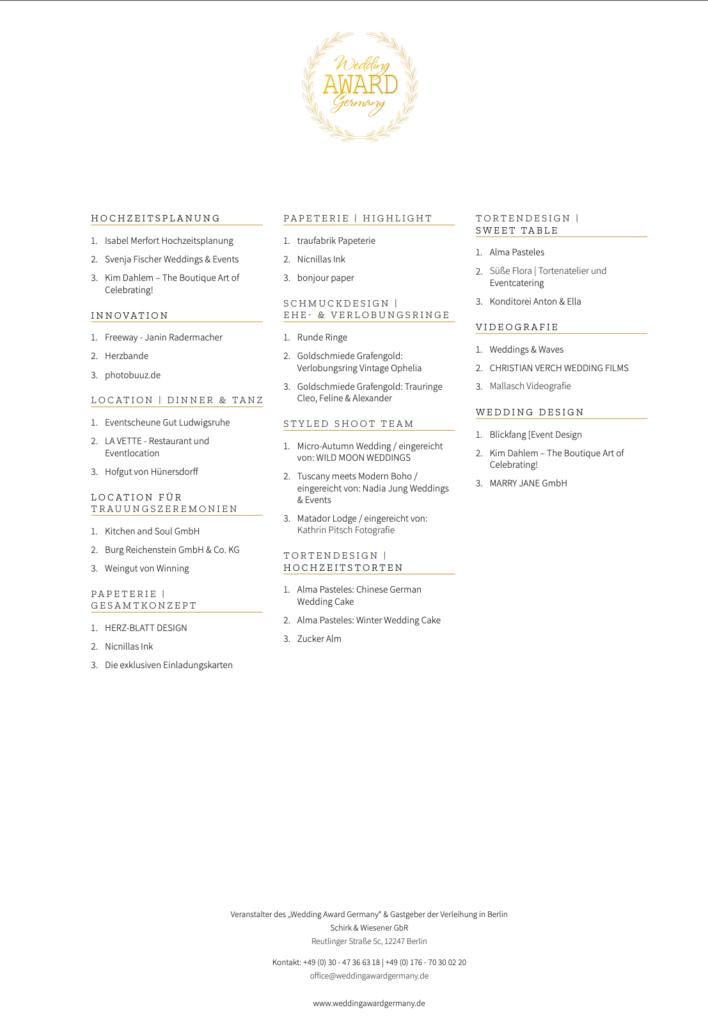 Wedding Award Germany Platzierungen 2021-2